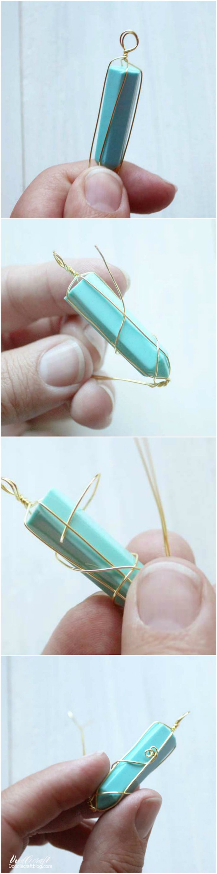 four step tutorial for faux crystal necklace pendant resin necklace step by step diy tutorial