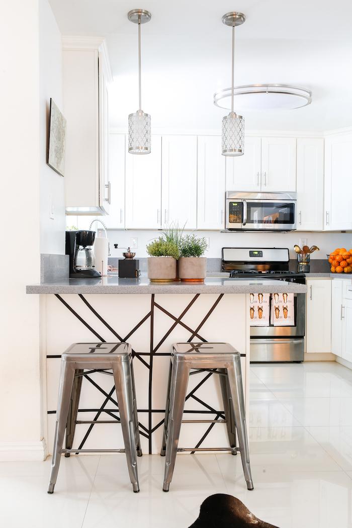 gray countertops white kitchen cabinets kitchen decor ideas silver metal bar stools white backsplash
