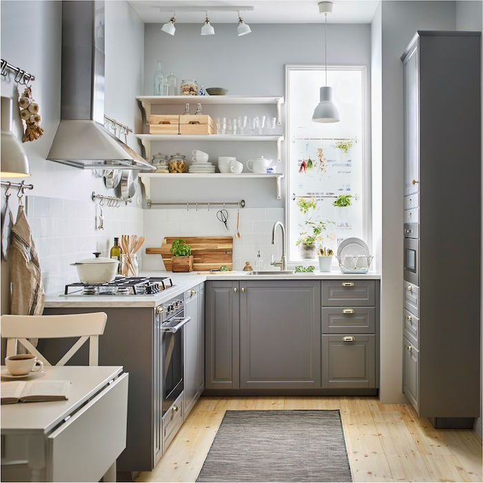 gray kitchen cabinets white tiled backsplash and countertop small kitchen design open shelving and wooden floor