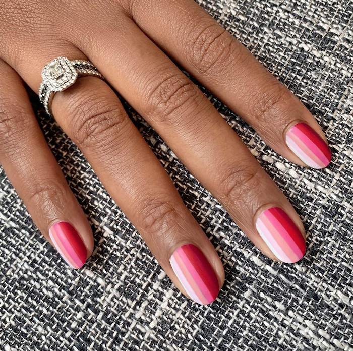 gray white pink and red rainbow nail polish valentines day nails 2021 short squoval nails diamond ring on ring finger