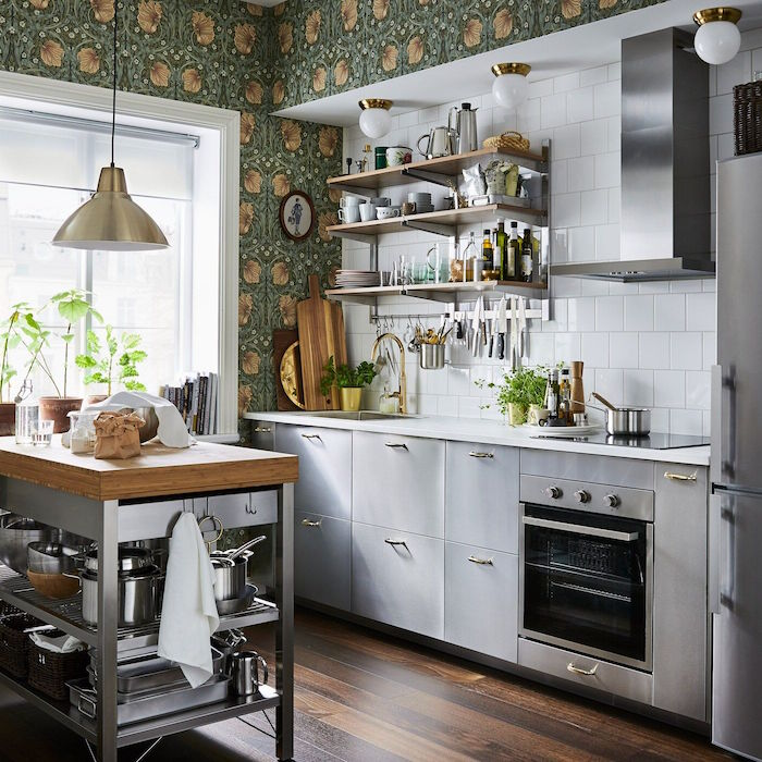 green floral wallpaper on the walls kitchen layout ideas gray kitchen cabinets white tiles backsplash open shelving