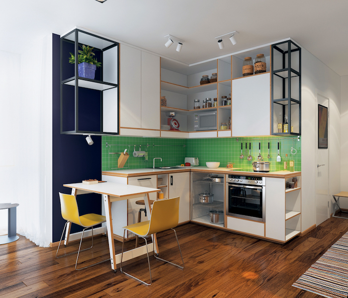 green tiled backsplash navy blue accent wall yellow chairs small kitchen design open shelving white cabinets