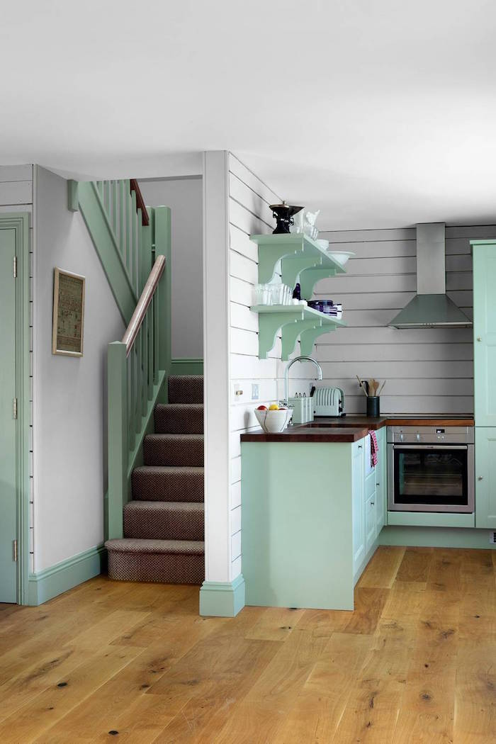 green wooden cabinets and open shelving with wooden countertop kitchen cabinet ideas white wooden shiplap backsplash