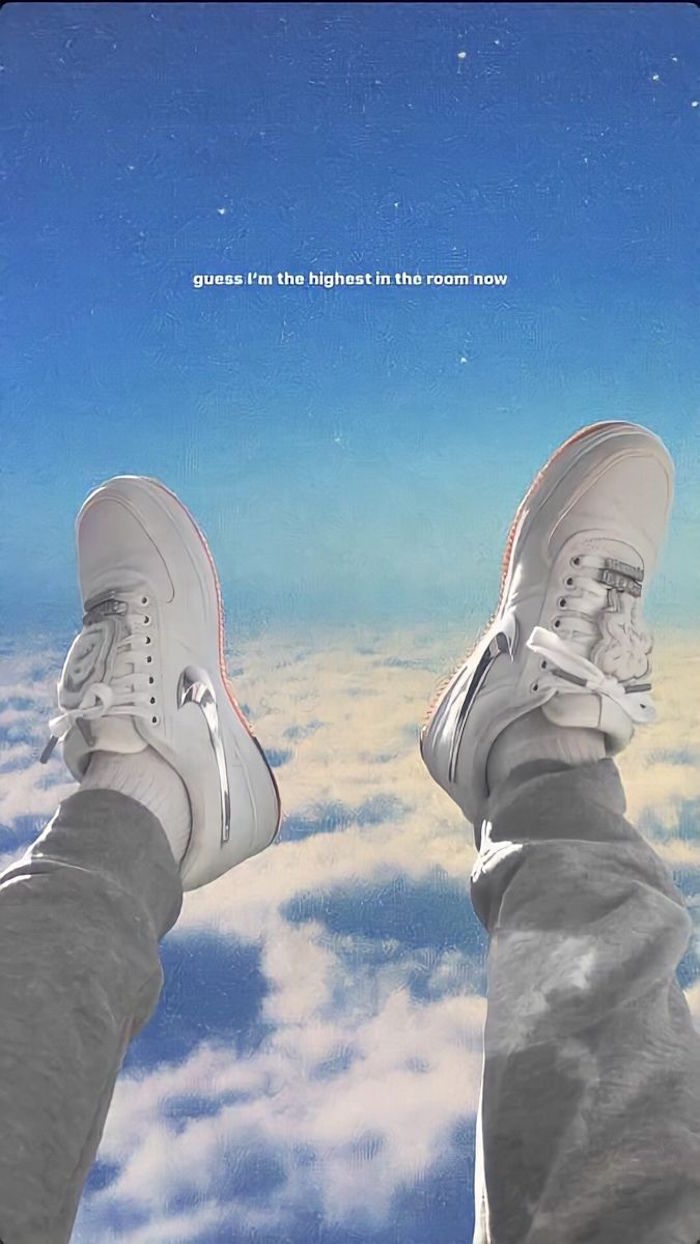 guess im the highest in the room now written on blue sky with clouds background nike shoes wallpaper white travis scott shoes