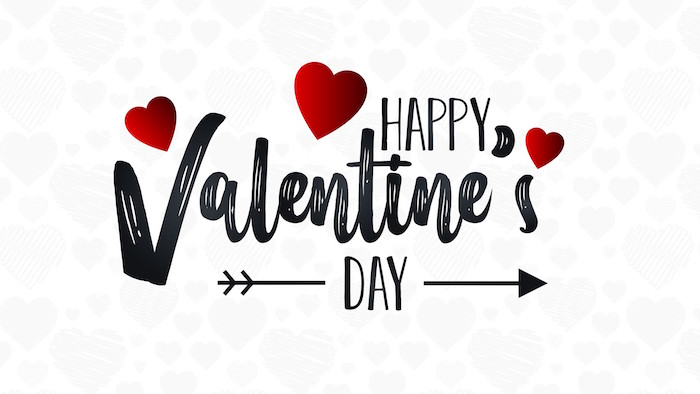 happy valentine's day written in black cursive font in the middle when is valentines day red hearts around it white background with gray hearts