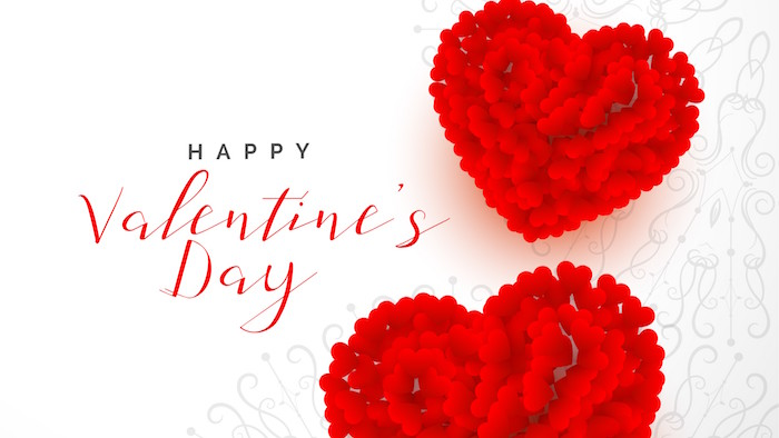 happy valentine's day written in cursive on white background valentines day background two red hearts made of smaller hearts