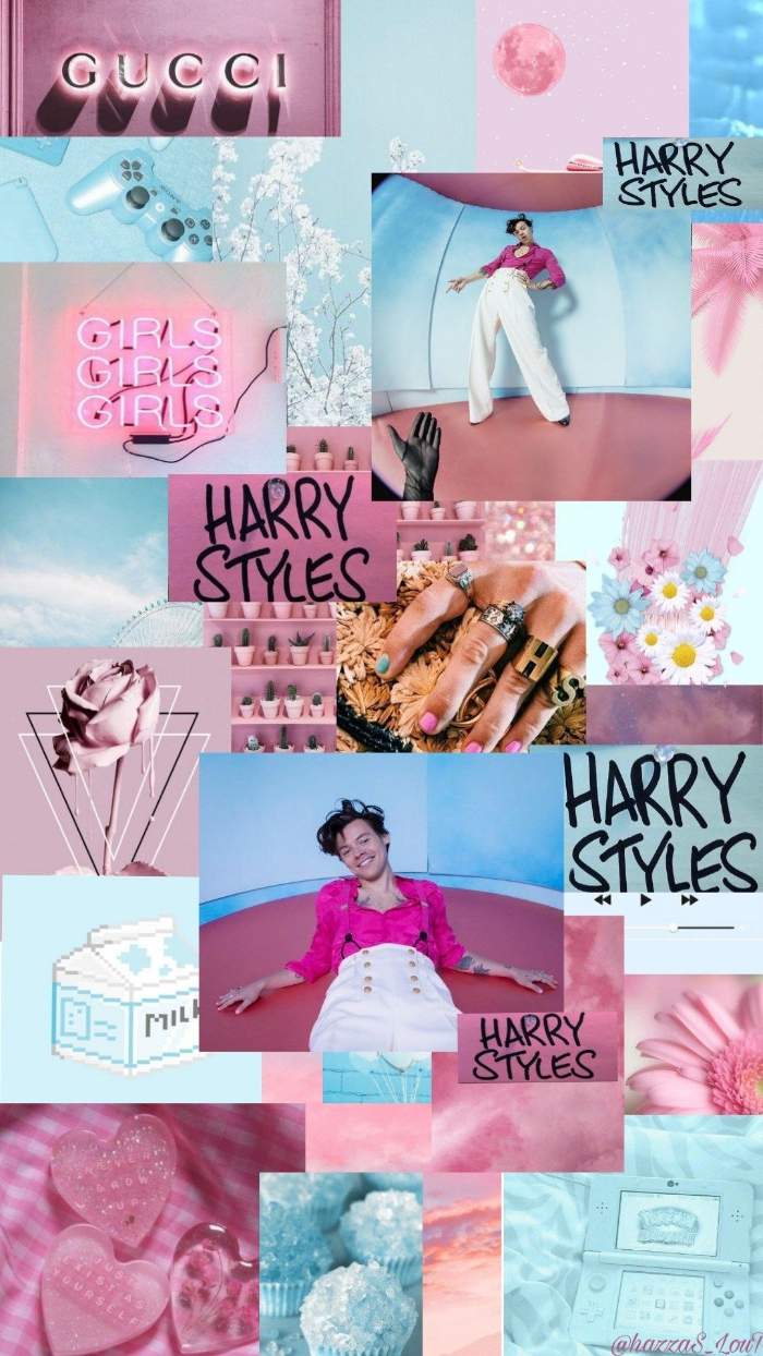 harry styles laptop wallpaper photo collage of different harry styles photos mood board in pink and blue