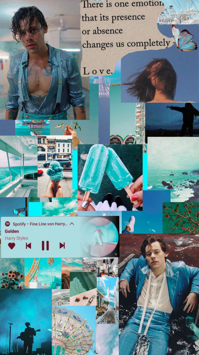 harry styles pictures photo collage mood board in blue with photos of harry golden playing on spotify