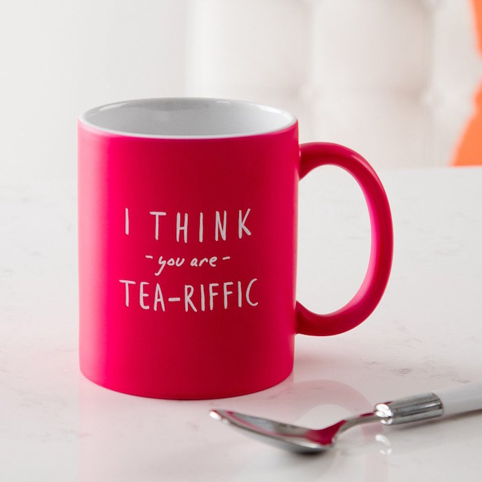 i think you are tea riffic written in white on red coffee mug valentines day gifts for boyfriend funny personalised mug