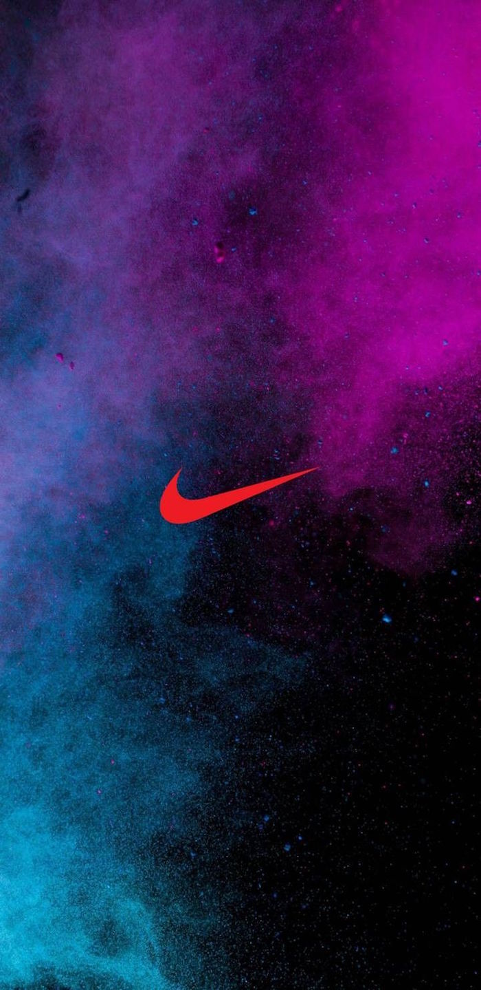 just do it wallpaper orange nike logo in the middle galaxy sky in the background in pink and turquoise
