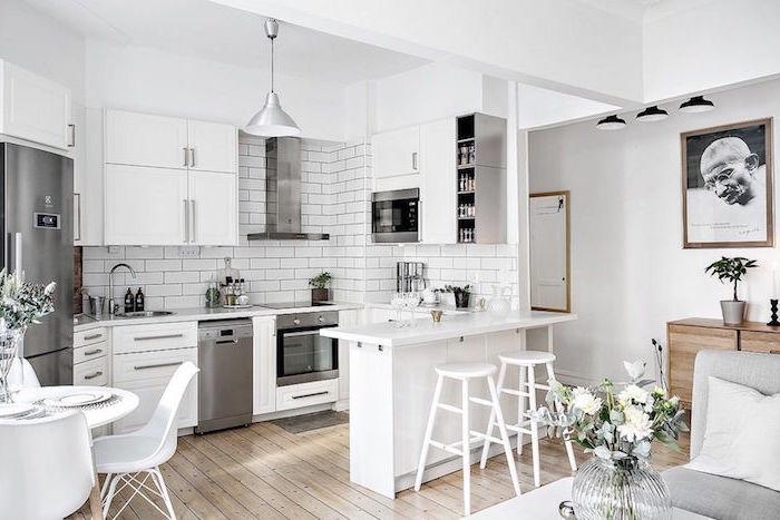 kitchen decor ideas white subway tiles backsplash white kitchen cabinets wooden floor white stools