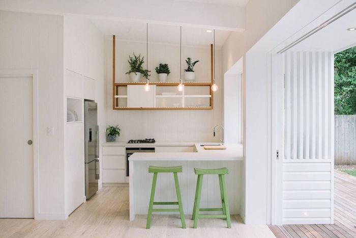 kitchen design ideas open wooden shelving white cabinets white countertops green bar stools