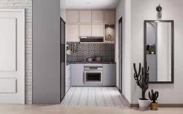 kitchen layout ideas black and white tiled backsplash white and light gray kitchen cabinets black countertop