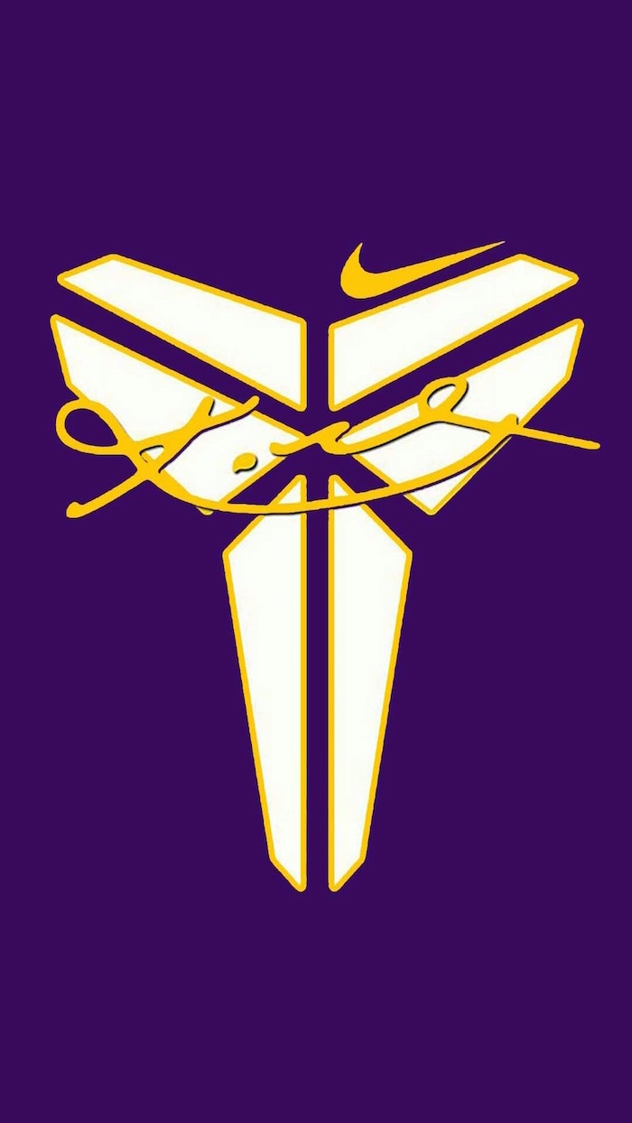 kobe logo with yellow outlines painted in white kobe signature over it just do it wallpaper yellow nike logo on purple background