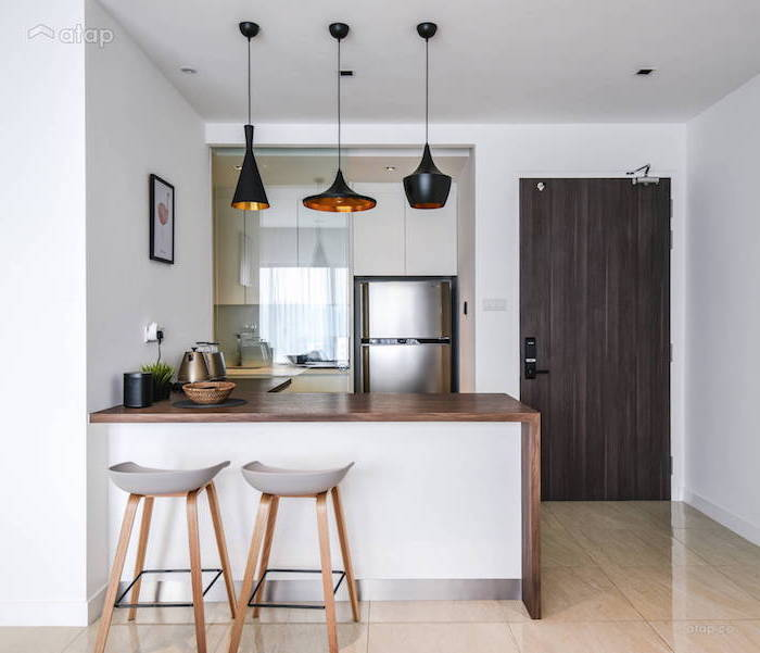 l shaped kitchen with white kitchen cabinets wooden countertops small kitchen design tiled floor wooden bar stools