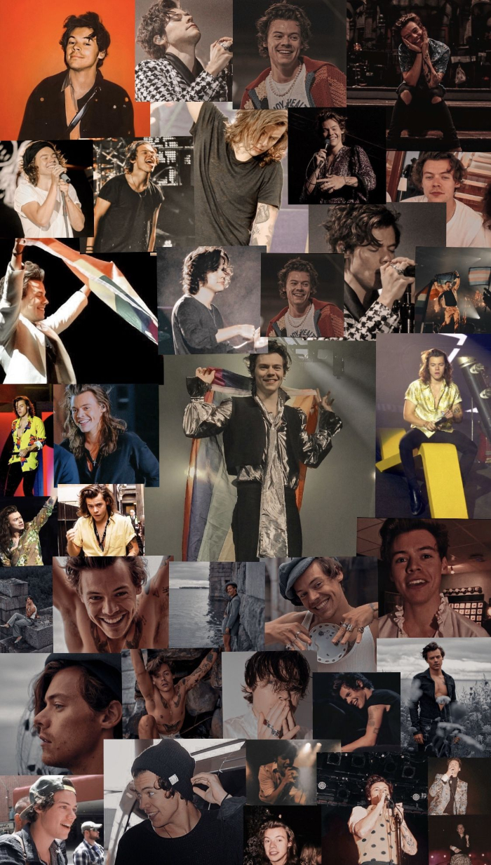 lots of different photos of harry styles arranged in photo collage harry styles lockscreen