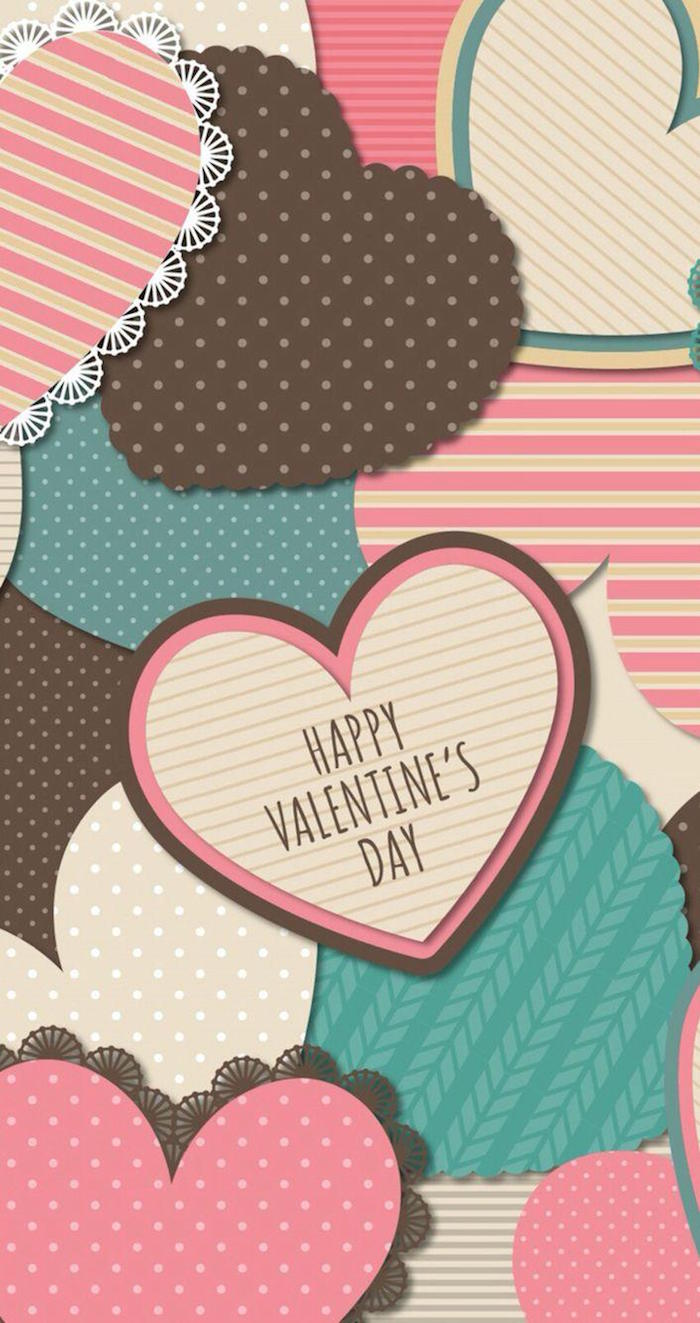 lots of hearts in different shapes and sizes and colors cute valentines day wallpaper brown pink blue happy valentine's day written on one