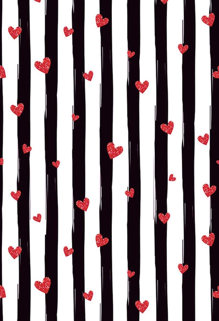 lots of red hearts drawn on black and white striped background valentines day wallpaper