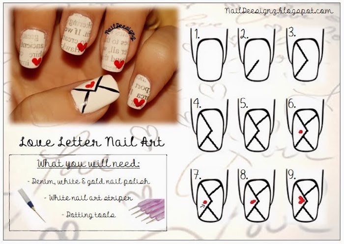 love letter nail tutorial step by step diy valentines day nails coffin shape white nail polish red hearts decorations