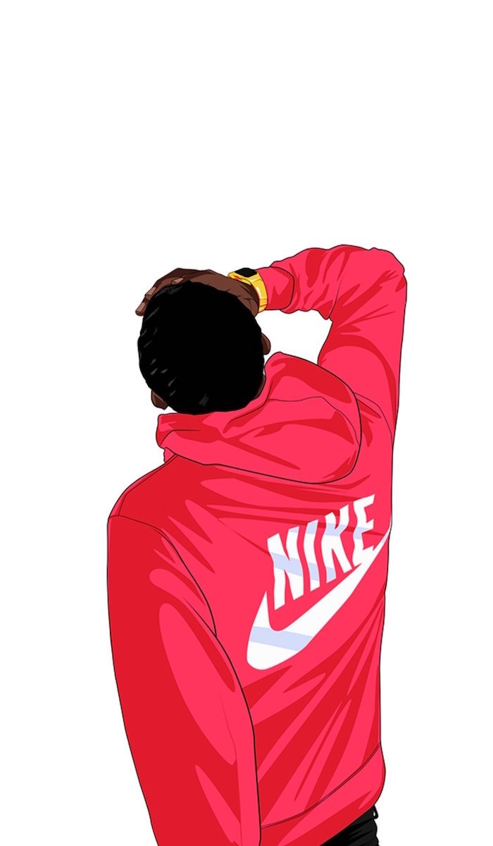 man wearing red sweatshirt with white nike logo on the back galaxy nike wallpaper white background
