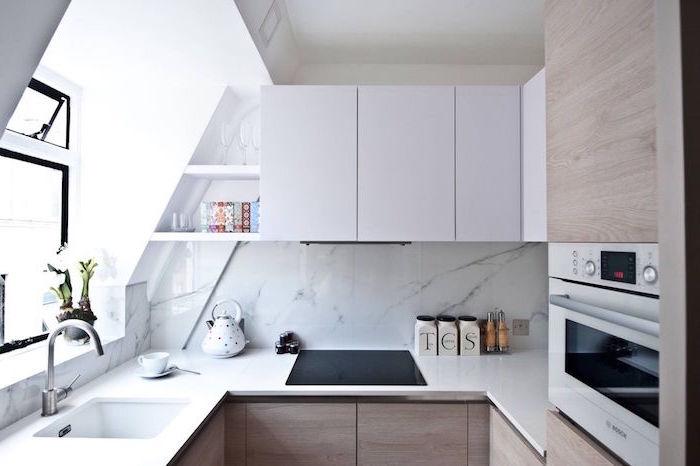 marble backsplash white and wooden kitchen cabinets white countertop kitchen layout ideas