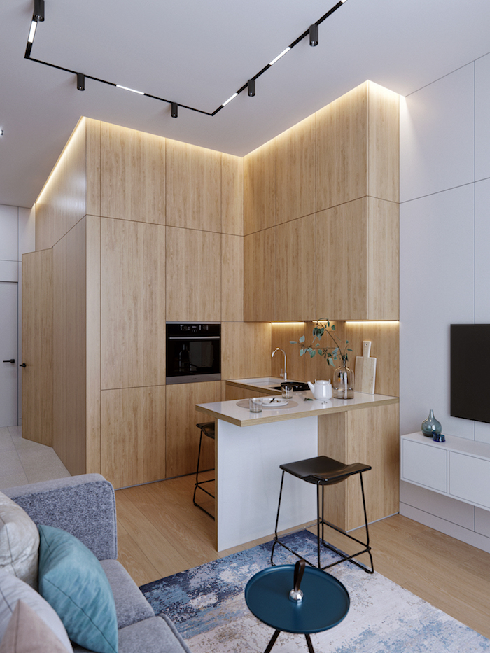 mini kitchen with biult in utilities wooden cabinets kitchen design ideas white countertops led lights
