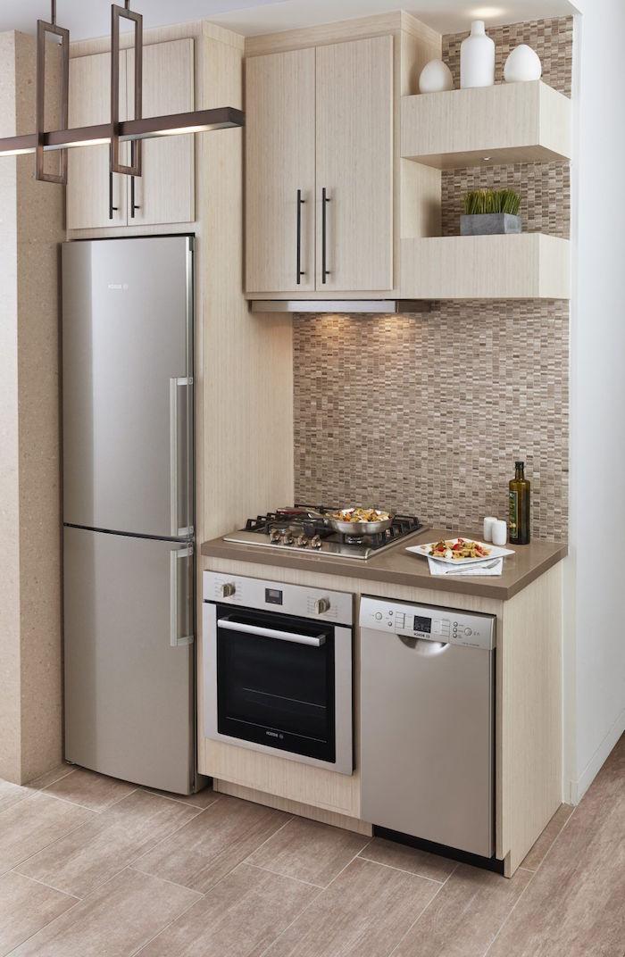 mosaic backsplash in beige wooden kitchen cabinets wooden floor kitchen design ideas open shelving
