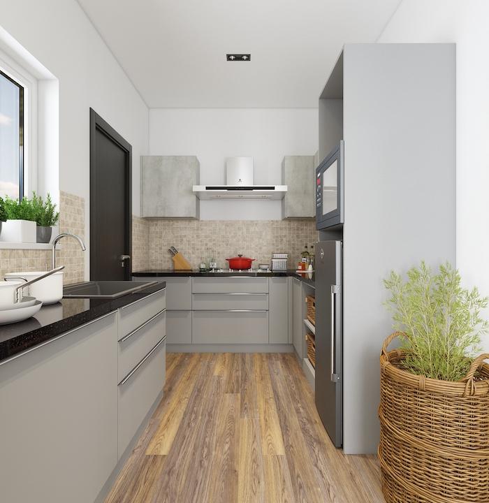 mosaic tiles backsplash light gray kitchen cabinets black countertops small kitchen ideas wooden floor