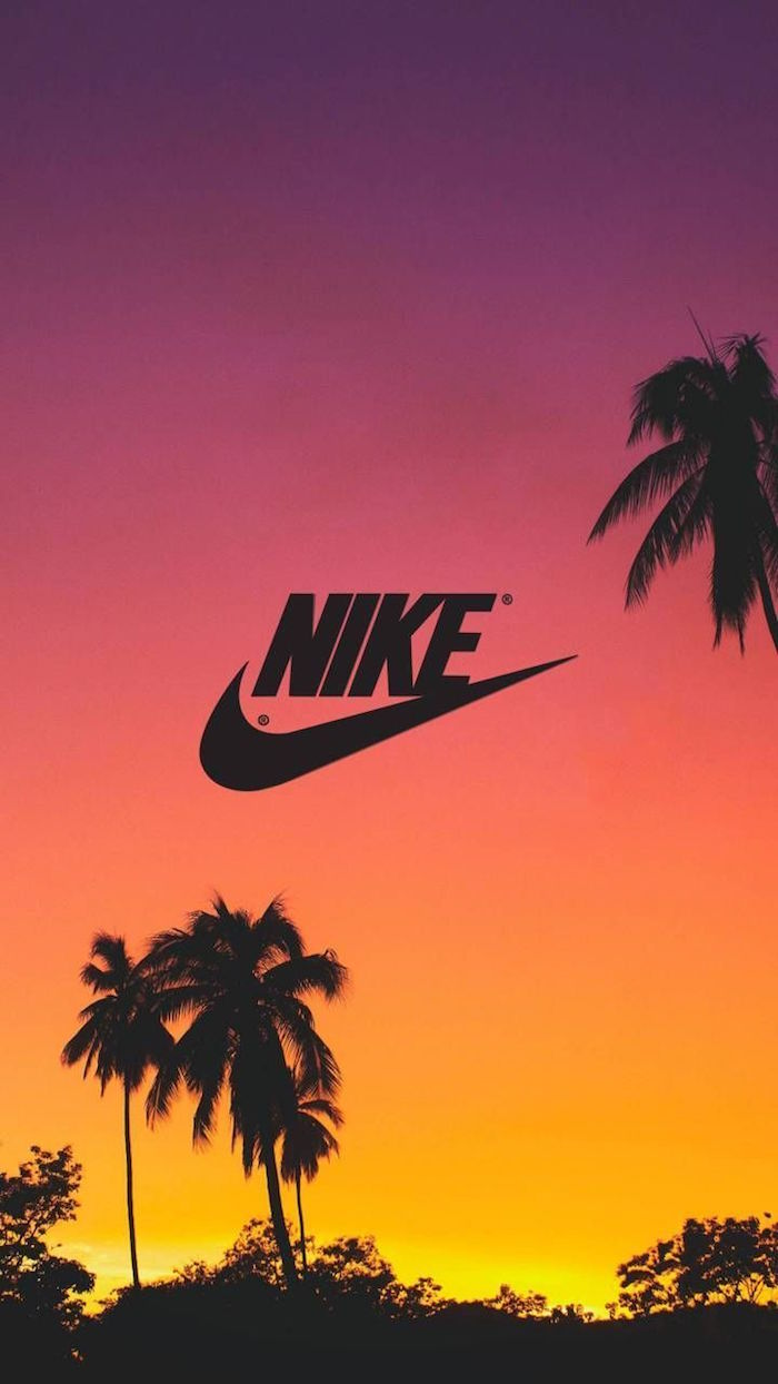 nike logo wallpaper photo of sunset sky in purple and orange with palm trees black nike logo in the middle