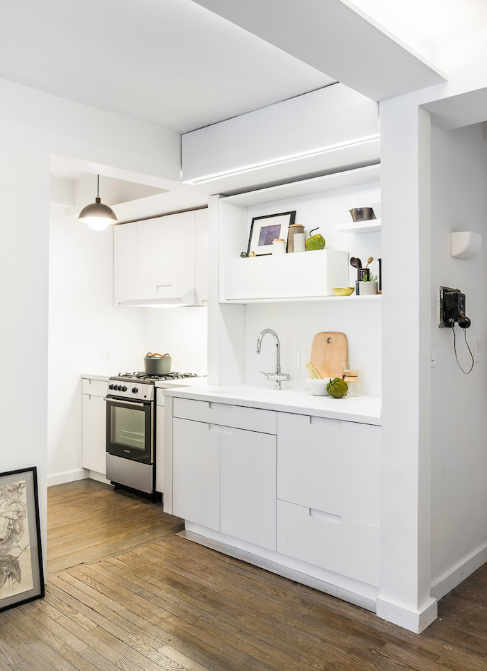 open shelving small kitchen remodel ideas white cabinets countertop and backsplash dark wooden floor