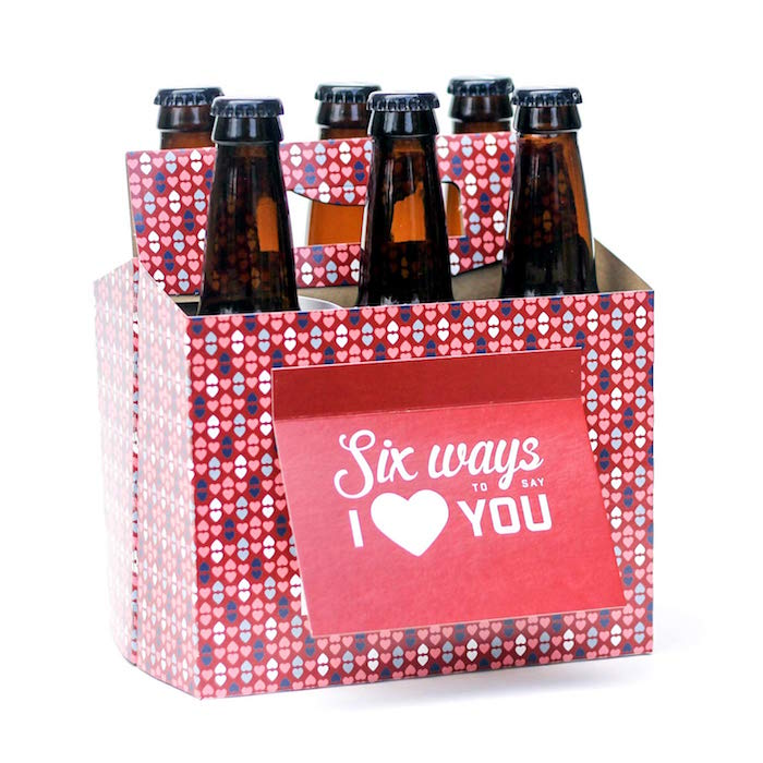 pack of six bottles of beer valentine's day gifts for men personalised with hearts on it sign that says six ways to say i love you