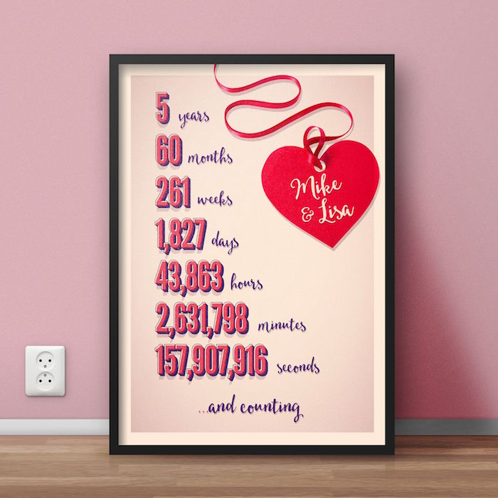 personalised poster for mike and lisa valentines gifts for him years months weeks days hours minutes seconds from first meeting