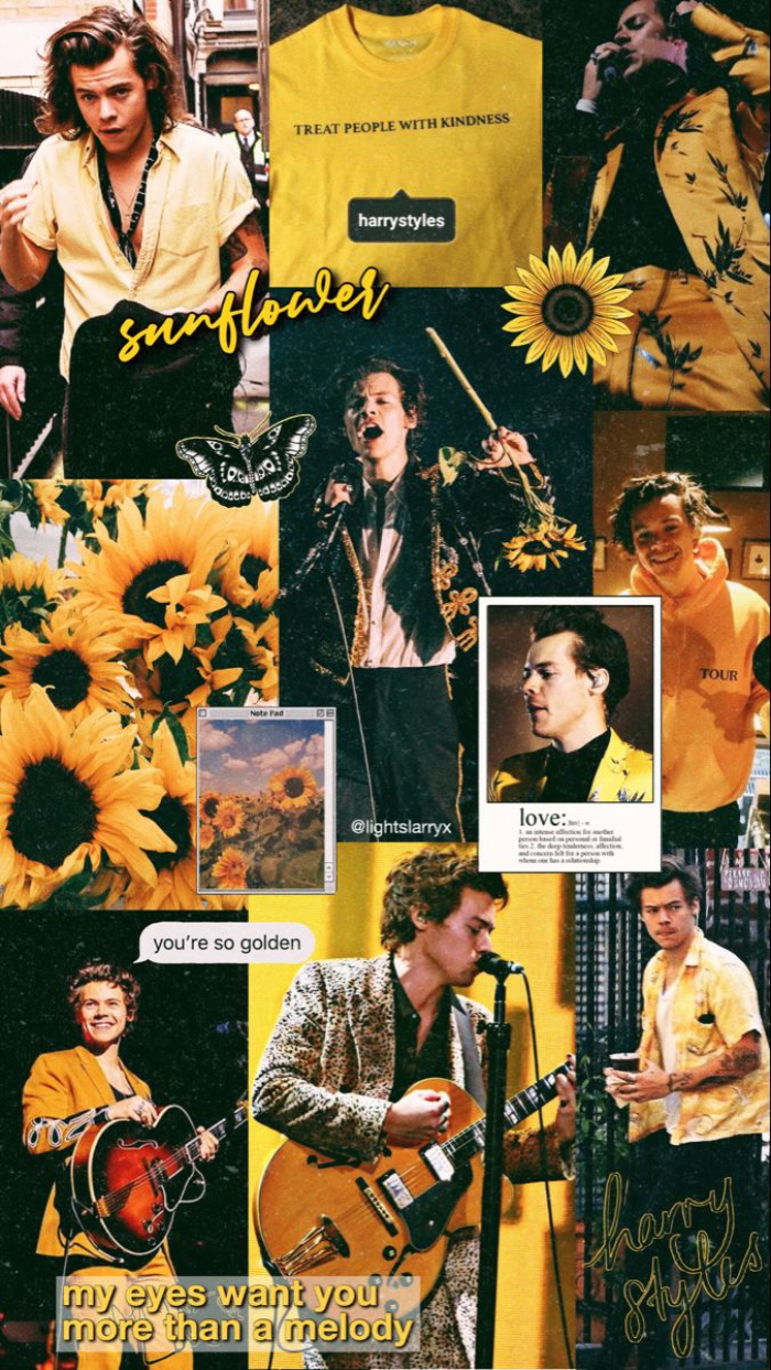 photo collage of different photos of harry and sunflowers harry styles aesthetic wallpaper