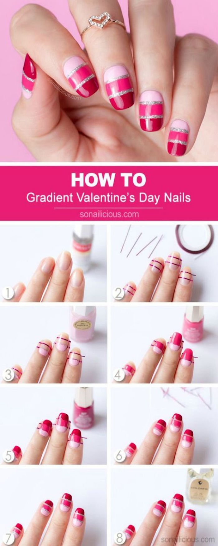photo collage of step by step diy tutorial valentines day nail art gradient pink and red nail polish