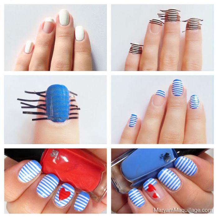 photo collage of step by step tutorial valentines day nail art blue and white striped nail polish with red hearts decorations