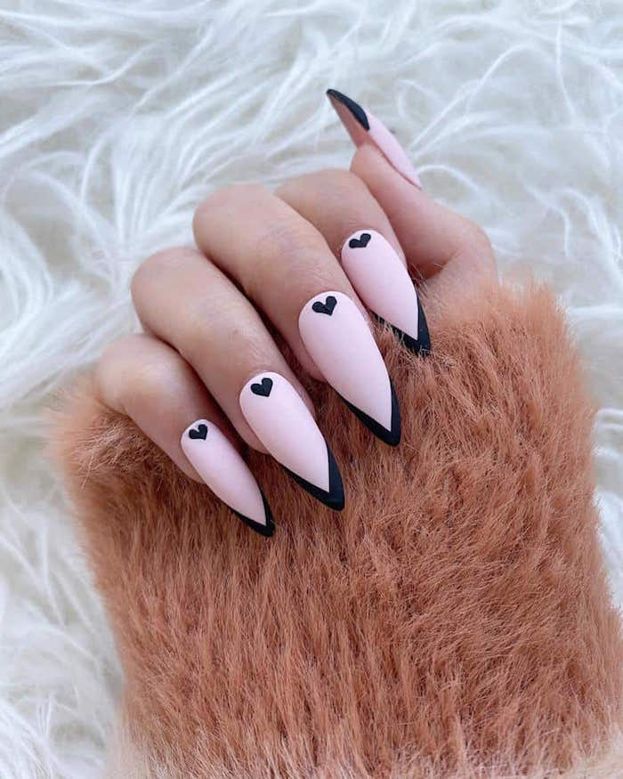pink and black matte nail polish valentine nail designs french manicure with small black hearts on long stiletto nails