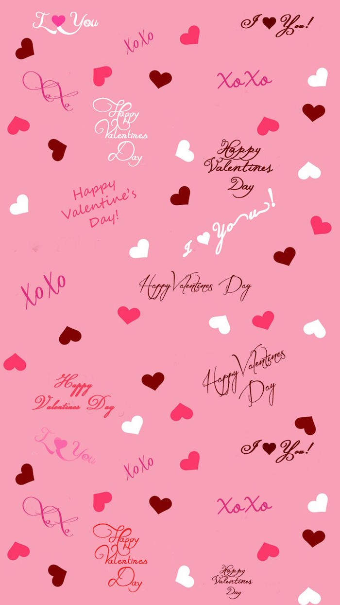 pink background with hearts in red white and pink valentine's day origin happy valentine's day written in cursive