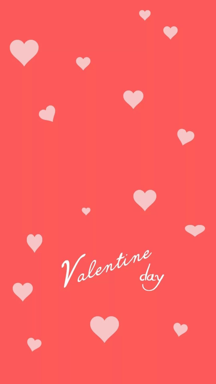 pink background with light pink hearts in different sizes cute valentines day wallpaper valentine day written in cursive