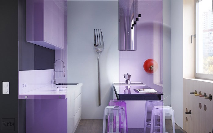 purple cabinets and plastic bar stools small kitchen remodel ideas decorative backsplash with photo of fork small tomato