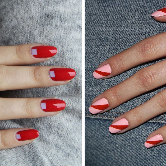 red and pink nail polish valentine's day acrylic nails short squoval nails with different designs side by side photos