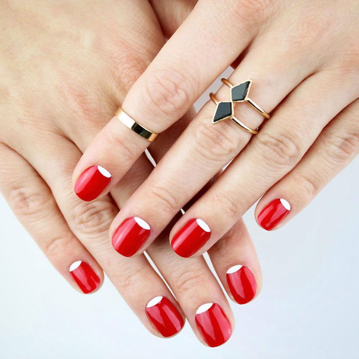 red and white nail polish on short squoval nails valentine nail designs female hands with golden rings