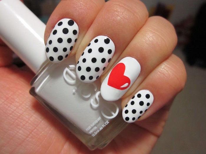 red heart and black dots on white nail polish cute nail designs medium length almond nails