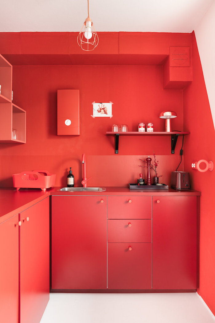 red wall kitchen cabinets and backsplash kitchen decorating ideas open shelving white tiled floor