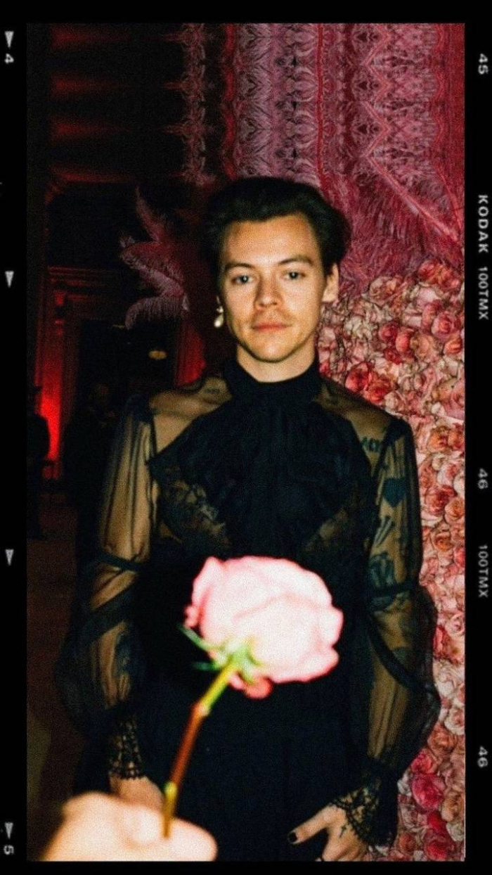 retro photo of harry wearing black see through sheer shirt harry styles laptop wallpaper rose at the forefront