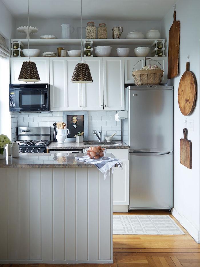 rustic style kitchen with white kitchen cabinets open shelving small kitchen ideas granite countertop white subway tiles backsplash