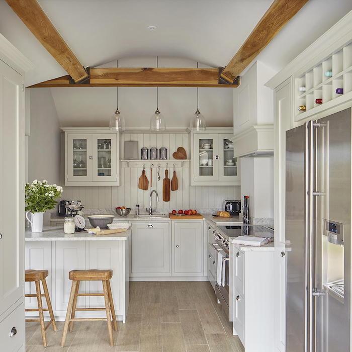 rustic style kitchen with white shiplap backsplash white cabinets wooden bar stools kitchen decorating ideas