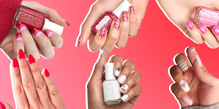 six different designs valentines day nail ideas white red pink beige nail polish with different decorations
