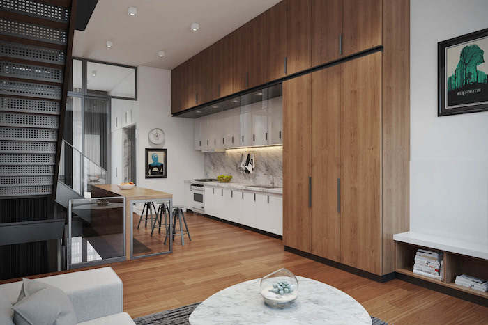 small kitchen design wooden and white cabinets marble countertop and backsplash small metal bar stools