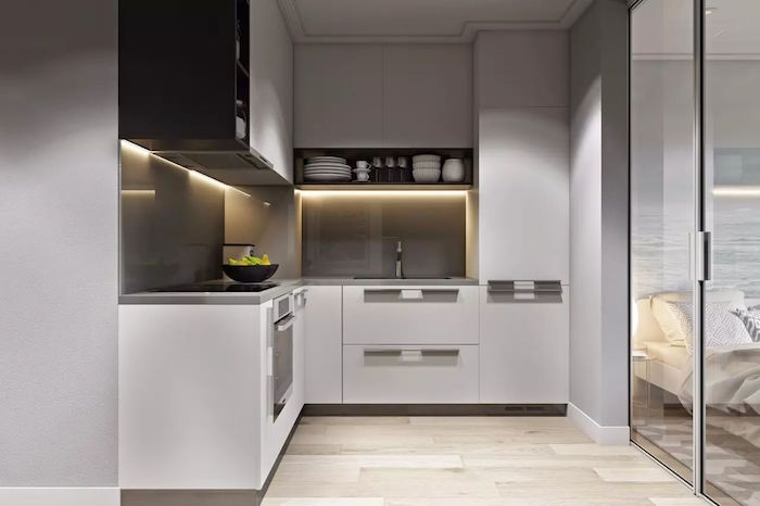 small kitchen ideas white kitchen cabonets with light gray backsplash with led lights openshelving wooden floor