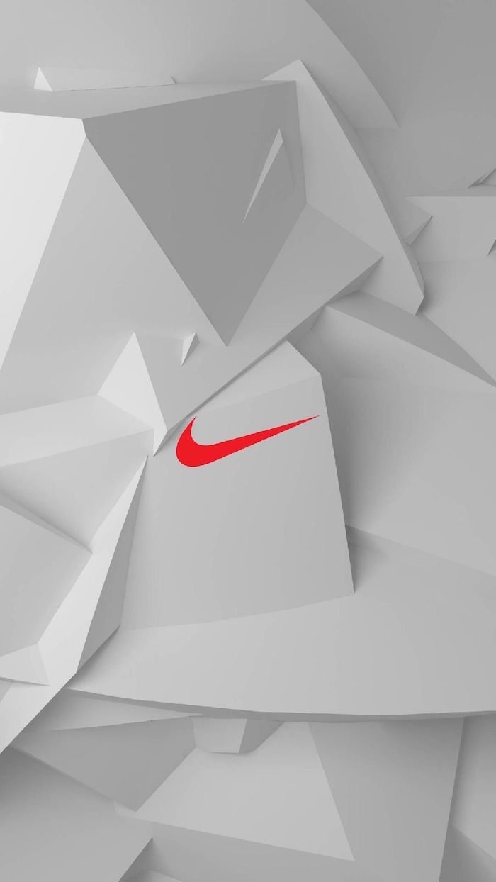small orange nike logo in the middle nike logo wallpaper white geometrical background